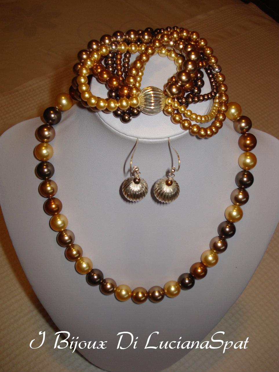 parure di perle in cristallo swarovski e argento. Black Bedroom Furniture Sets. Home Design Ideas